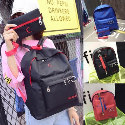 Nylon Embroidery Backpack School Shoulder Messenger Bag Travel Rucksacks 9547c5e671