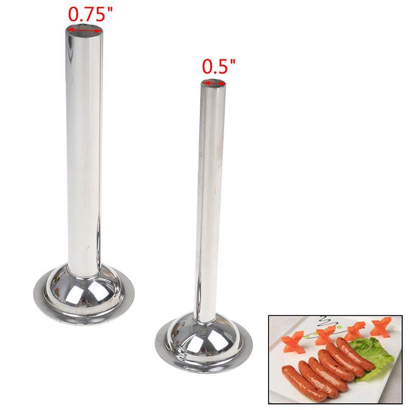 2Pcs Stainless Steel Sausage Stuffer Maker Kit Attachment Stuffing Tubes Kitchen