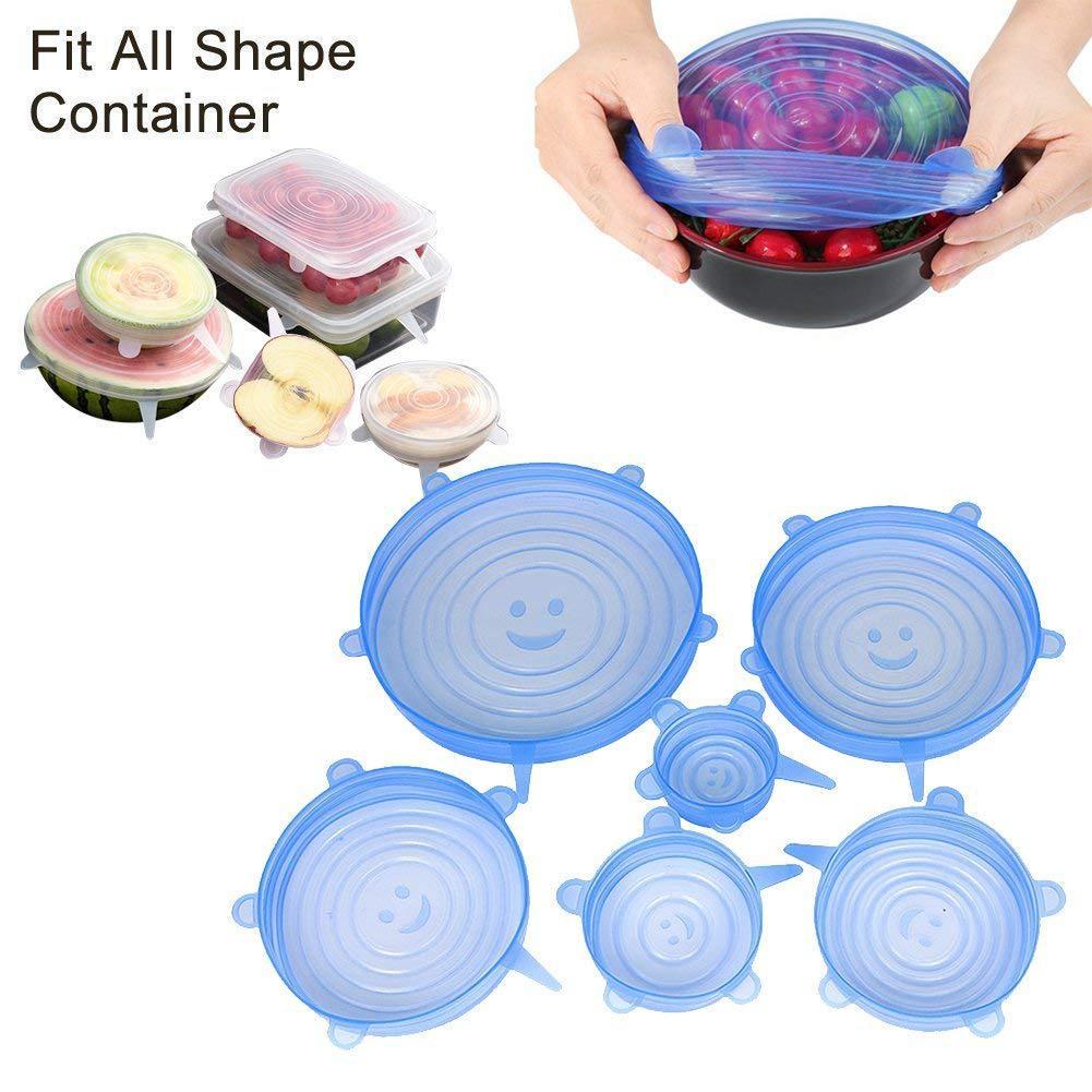 Набор силиконовых крышек для посуды разной формы и разного диаметра (6 размеров в комплекте) – купить по низким ценам в интернет-магазине Joom