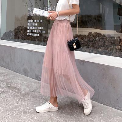 c99b9ed24bc Сетки юбка перо кружева юбка длинная новые модули горячей моды  плиссированные долго юбка женская
