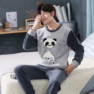 d39ca70fa3 Inverno uomo pigiama spessore caldo Coral Fleece uomini pigiama Set Pijama  Cartoon pigiameria animale vestito