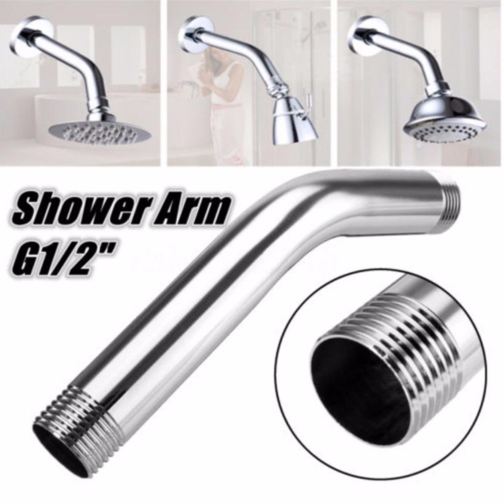 """G1//2/"""" 15cm Stainless Steel Shower Head Extension Angled Shower Arm Extra Pipe"""