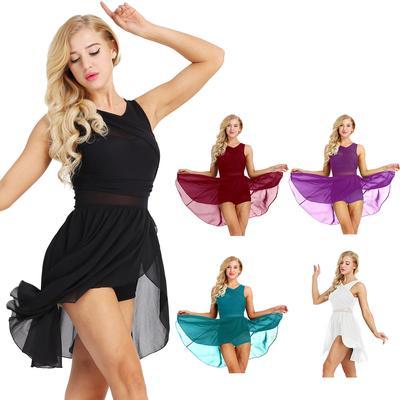 Women Ballet Dance Leotard Dress Mesh Skirts Gymnastics Dancewear Performance