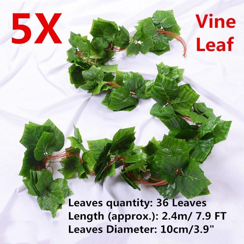 Long Simulation Plants Rattan Green Ivy Leaf Fake Grape Vine Artificial Flower A