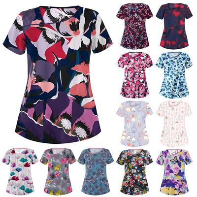 20Styles Printed Short Sleeve T-shirt Nurse Working Uniform V-neck Scrubs Blouse Surgical Gown