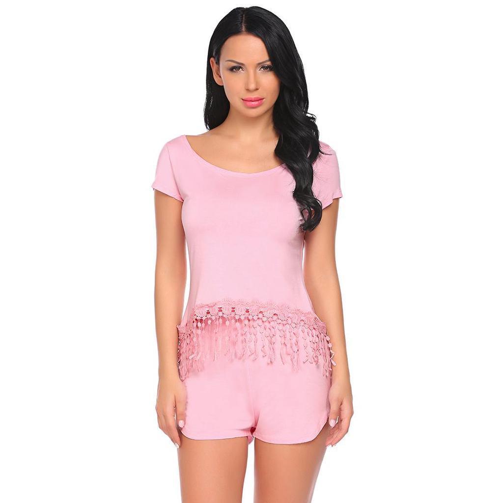 e828552370 Buyme mujeres ropa de dormir de manga corta encaje sin respaldo ajuste  camiseta Top y Shorts pijama conjunto - comprar a precios bajos en la  tienda en línea ...