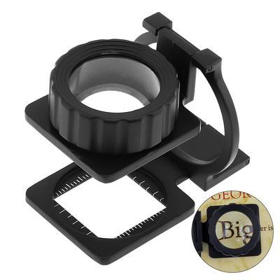 20X 28mm Portable Mini Tri-Folding Scale Magnifier Detection Desktop Magnifying Glass Zinc Alloy Foldable Optical Lens Tool