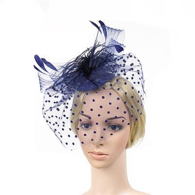 7a76289a15 Estilo retro pájaro jaula malla cara novia velo pluma Fascinator pinza de  pelo (azul)