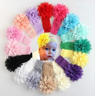 57eeaf7f7 Casco diadema flor hecha a mano de Gasa cabello accesorios infantiles  dispensa venda del bebé flor