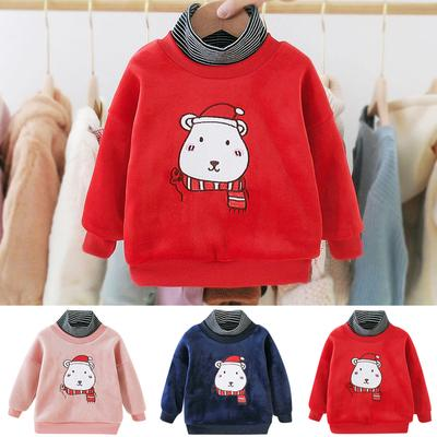 Children Girl Long-Sleeves Clothes Embroidery Floral Ruffle Sweatershirt H1