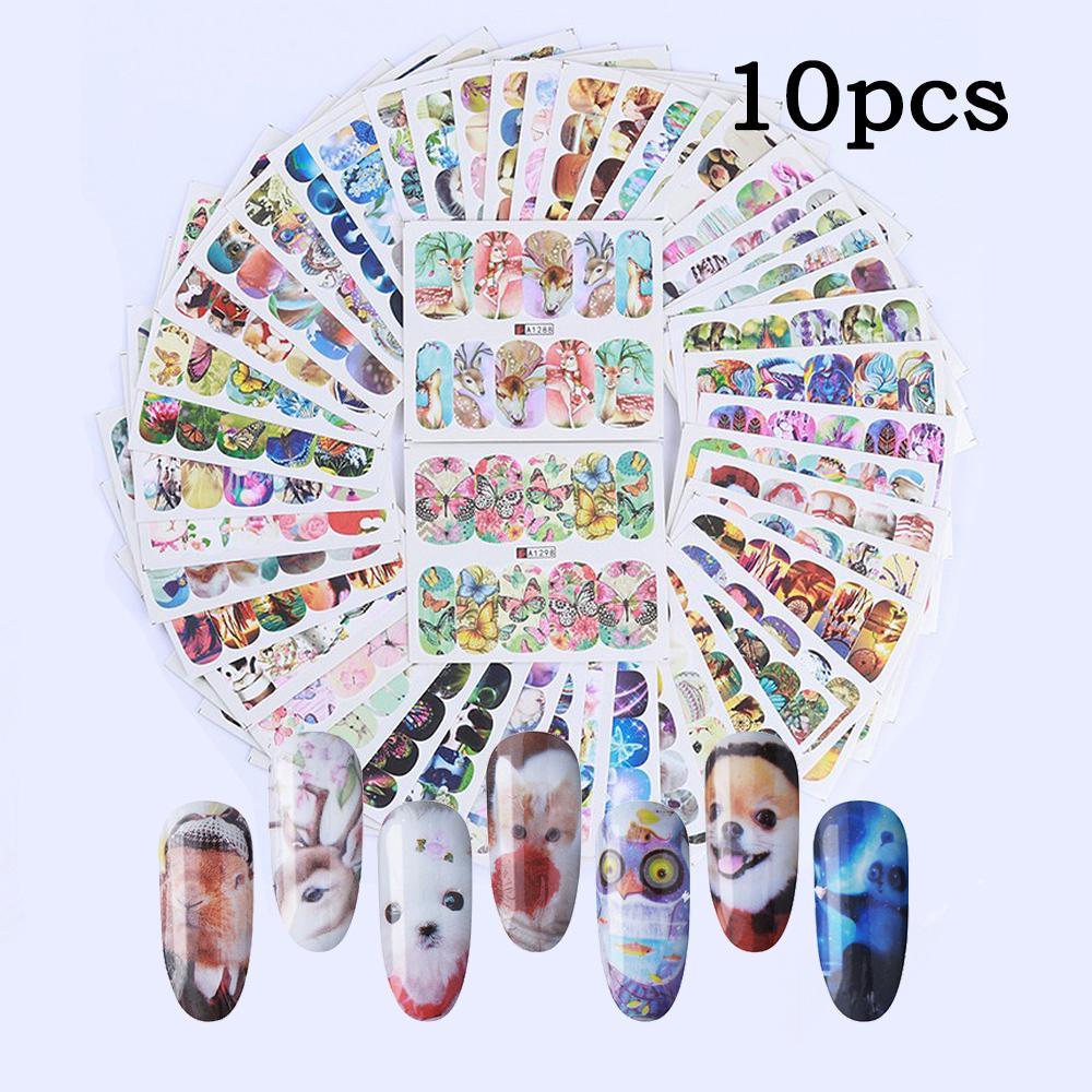 10pcs различные ногти наклейка Установить животных бабочка Dreamnet Decal Вода Передача Ногти Искусства