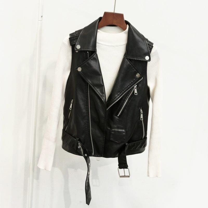 Women Faux Leather Waistcoat Sleeveless Jacket Ladies Vintage Coat Gilet BikerUK
