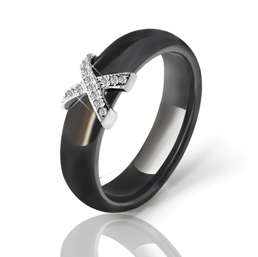 Trois en un zircone cubique Bande Mariage Femme Titane Acier Queue Ring Sets Cadeau Taille 5-9