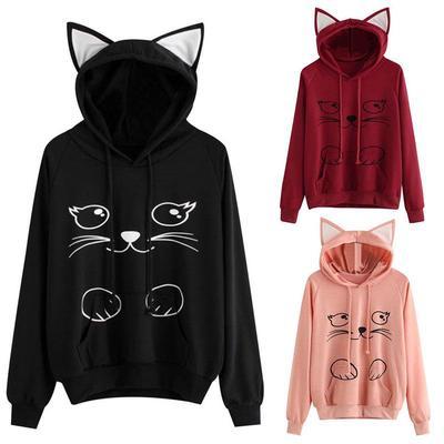 Girls Short Hoodies Crop Top,Cute Rabbit Cat Ear Snug Long Sleeve Pullover Tops Blouse