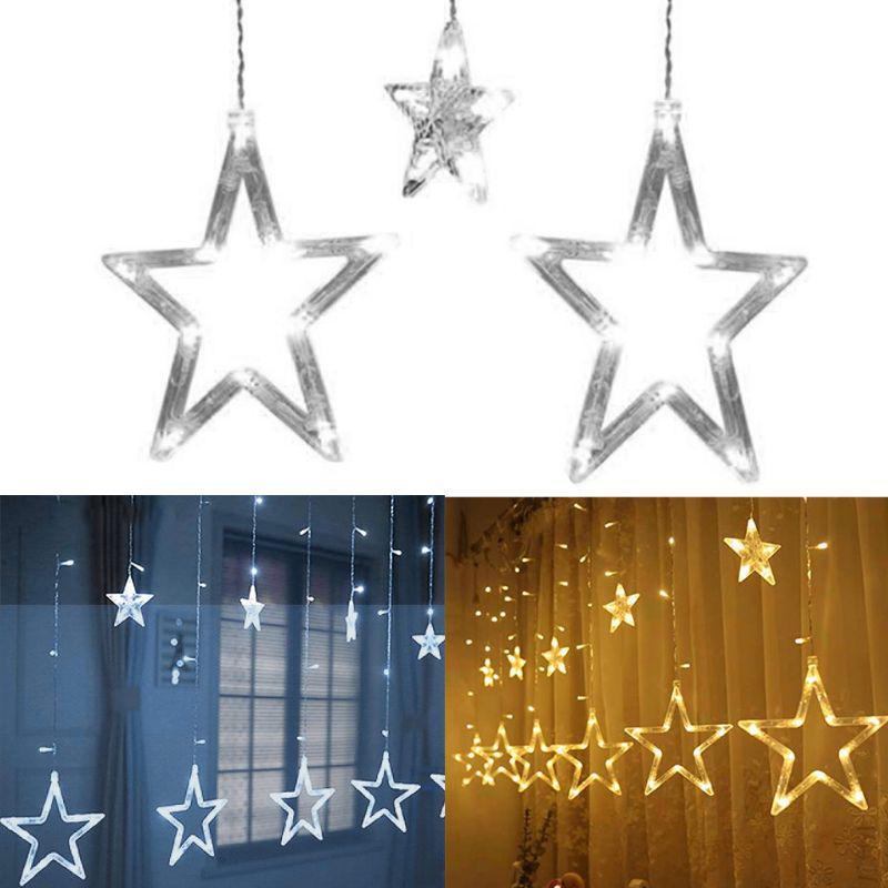 LED Fairy String Window Curtain Lights Twinkling Moon Star Wedding Xmas Party UK