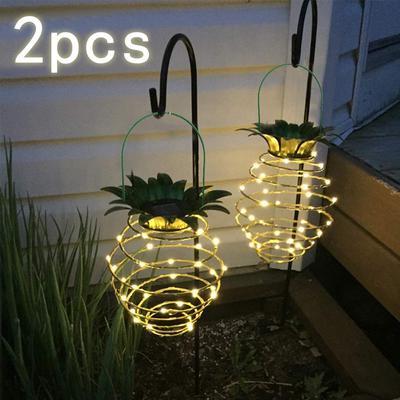 2x Solar LED String Light Pineapple Hanging Lantern Lamp Garden Decoration Tree