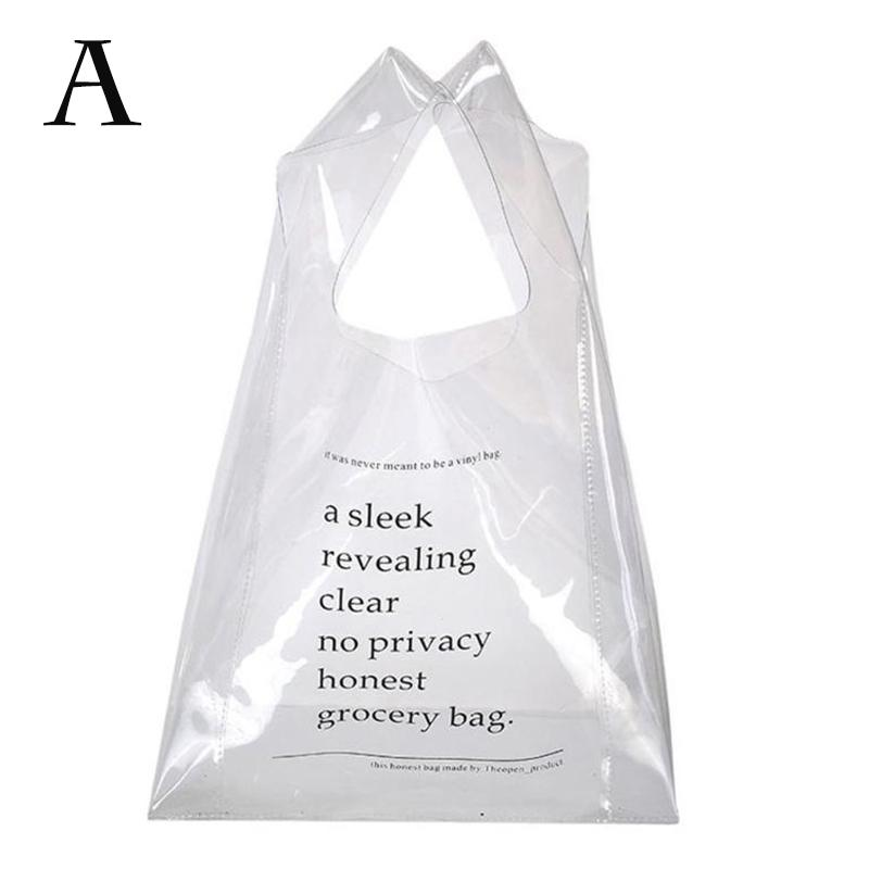 1PC Reusable Clear PVC Tote Bag Gift Packaging Shopping Handbag Transparent