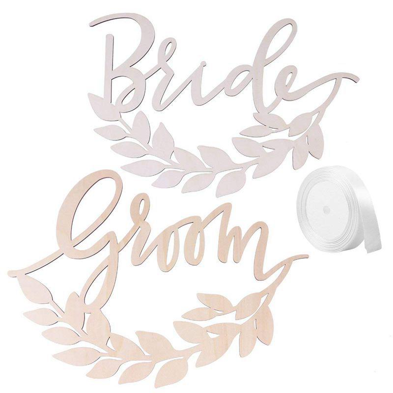 2pcs Hexagon Bride Groom Chair Signs Wedding Hanging Signs Chairs Decor