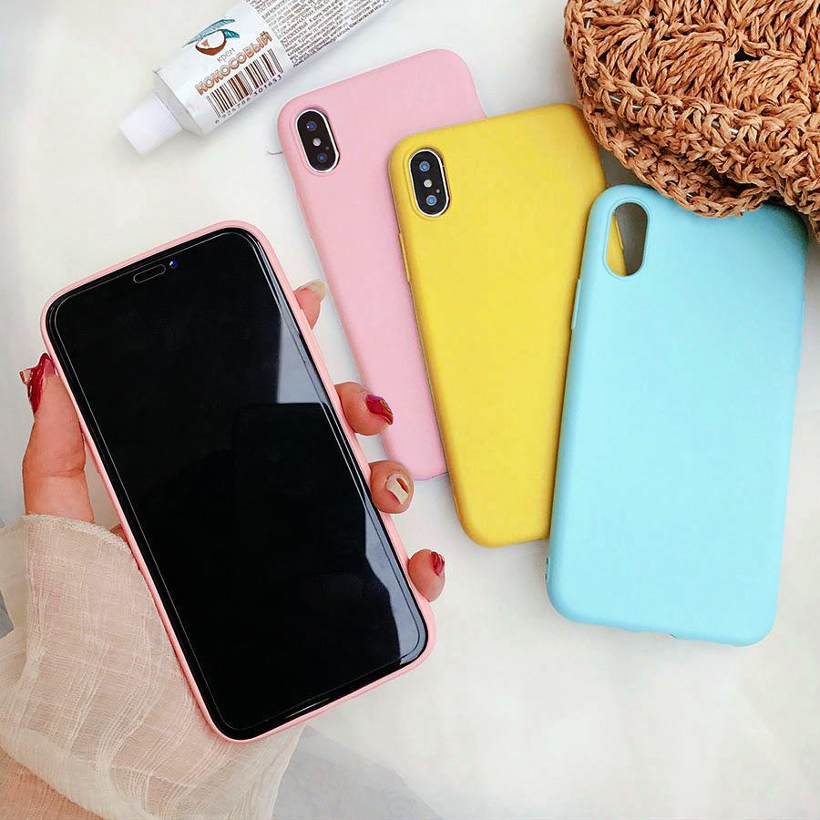 Задняя крышка на телефон модели Huawei Y5 Lite Y6, onor7A 7C Xiaomi Mi A2 Lite Pocophone F1 Redmi Y2, цвета : розовый, желтый, голубой, красный, синий, белый фото