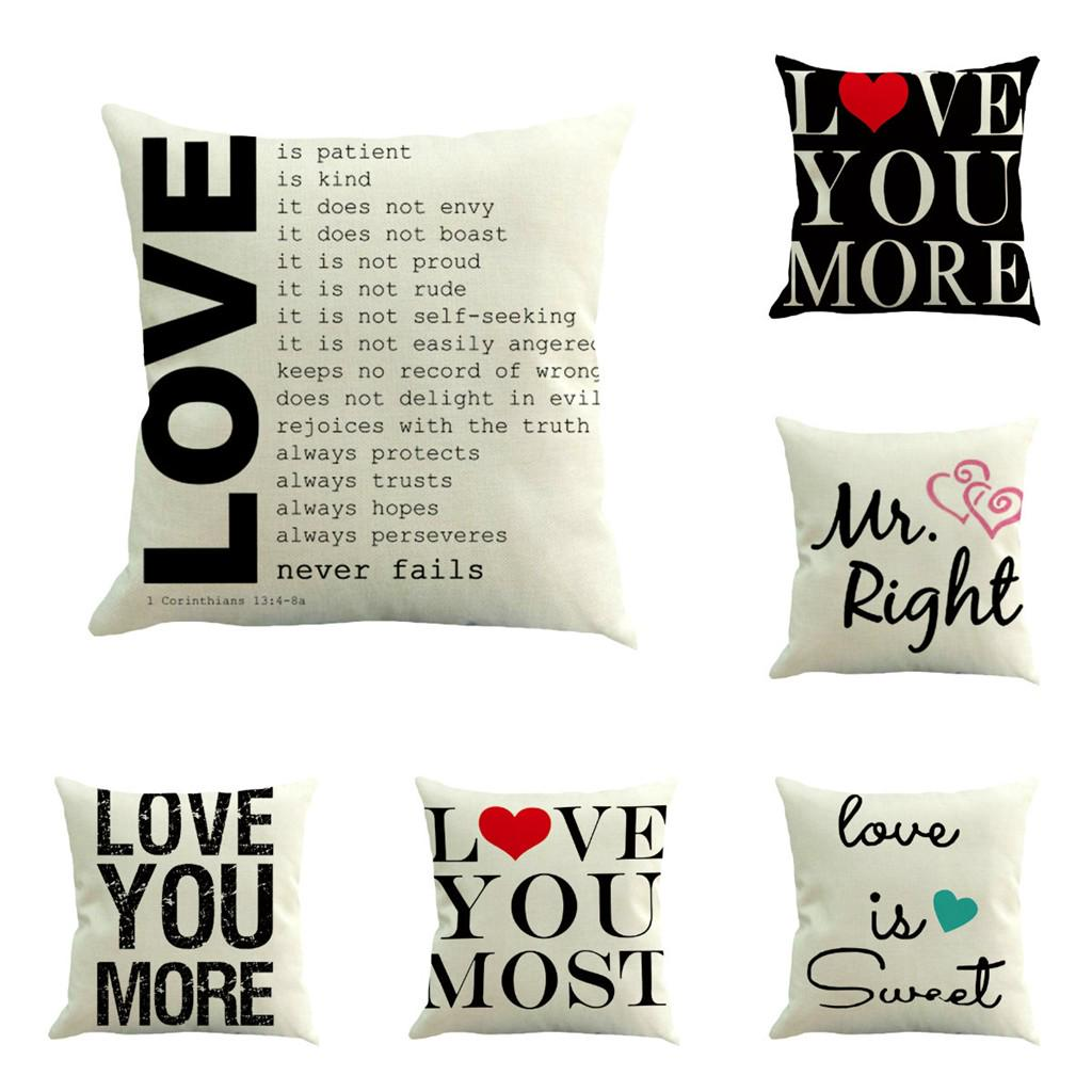 Valentine/'s Day Letter Stylish Pillow Cover Family Car Sofa Cusion Pillowcase