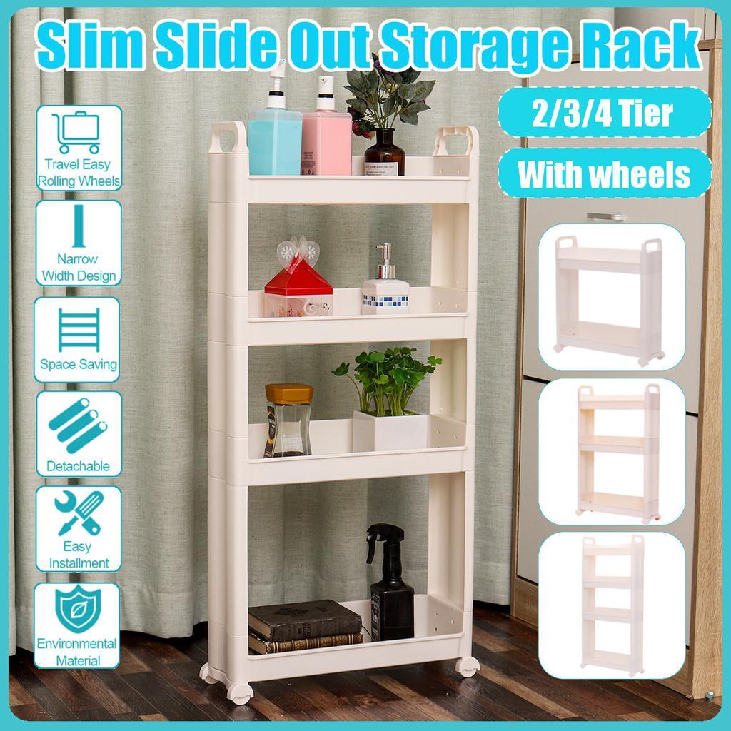 2 3 4 Tier Slim Slide Out Kitchen Bathroom Thin Trolley Cart Rack Holder Storage Shelf Organization Buy From 66 On Joom E Commerce Platform