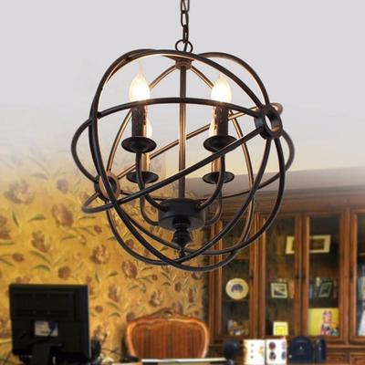 Industriel Suspension Luminaire Vintage 6light Cage Orb Rond Balle Lustre Y76vmyIbfg