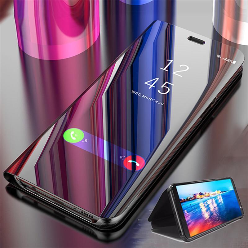 Очистить вид Smart Зеркало Телефон случае для Samsung S10 S20plus Flip Стенд Обложка для Huawei Честь 20 Pro