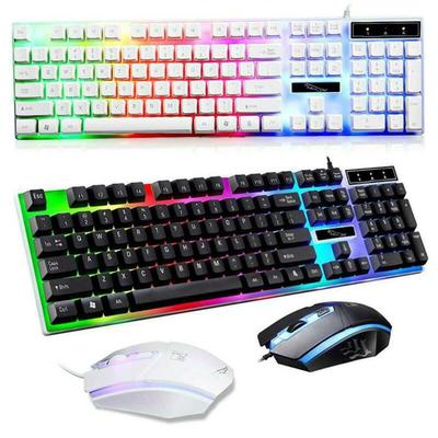 E-Sports Mechanical Feel Keyboard Mouse Headset Set Color : Silent Gaming Mouse Notebook Desktop Computer Wired USB Home Office Metal Light Keyboard
