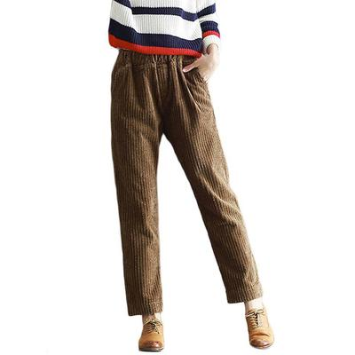 6df029ff317e KEWL-Women Corduroy Pants Vintage Lady Thicken Keep Loose Pleated Trouser  Warm