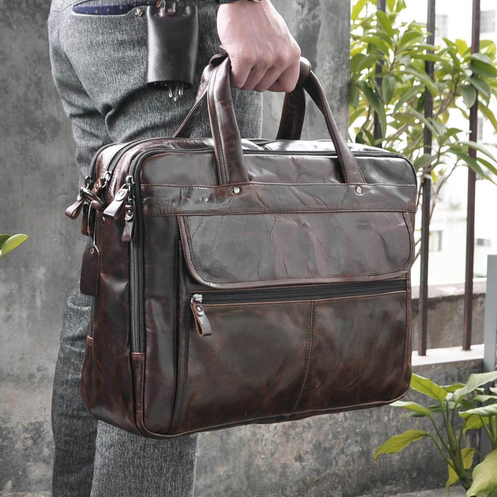 Men/'s Document Bag Genuine Leather Fashion Business Briefcase Messenger Bags