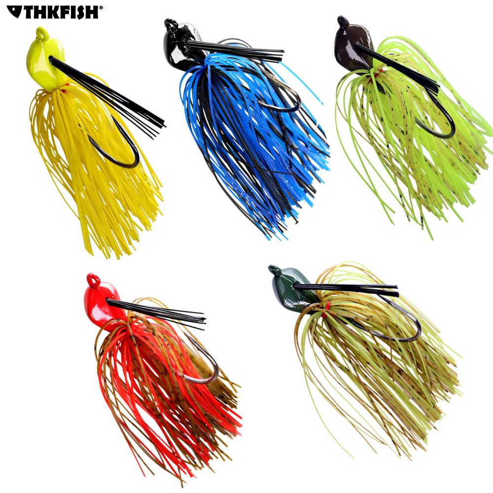 Rubber spoon Lure 5PCS Fishing Bass Fly Jig Spinnerbait Spinner Baits 14g-19g