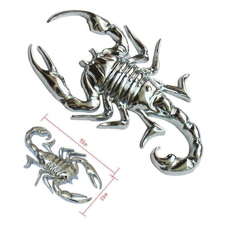 2 PCS Silver 3D Metal Car Stickers Scorpion Decals Car Trunk Body Animals Decals