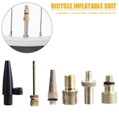 6Pcs//Kit Air Valve Inflatable Nozzle Adapter Pump Foot Bicycle Tire Spare Parts