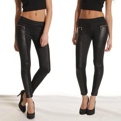 Сексуальные кожаные женские брюки с эластичными вставками