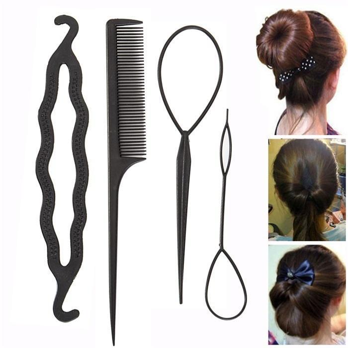 71e20d67 Fabricante de bollos 4 piezas mujeres damas herramienta de trenzado de  cabello giro acortar palo fabricante de bollos accesorio DIY