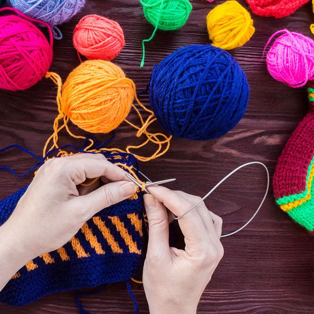 11Sizes 43cm Stainless Steel Circular Crochet Knitting Needle Tool 1 Set