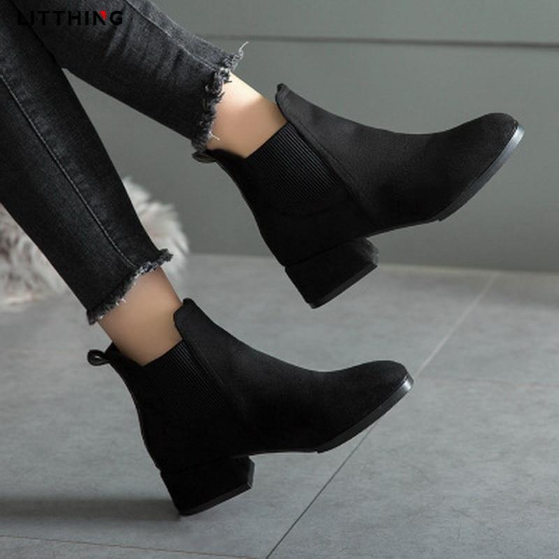 Women/'s Patent Leather Special Heel Shoes Pointy Toe Pull on Chelsea Solid Boots