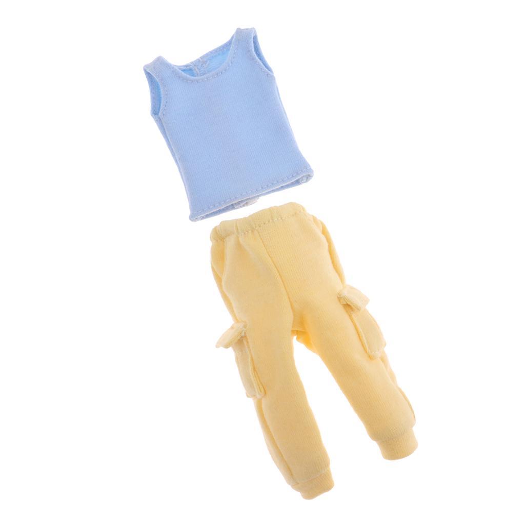 Ropa casual conjunto chaleco azul y pantalones amarillos para Blythe ... c8f61f0f8722