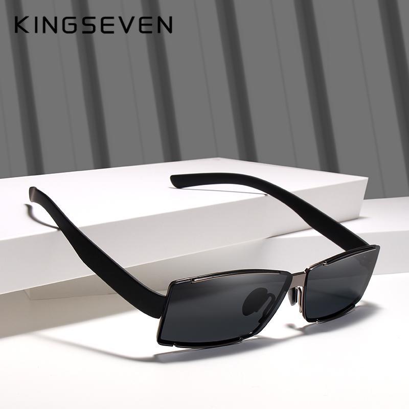 KINGSEVEN 2019 Rectangle Sunglasses Men Travel Polarized Rimless Sun glasses Mal