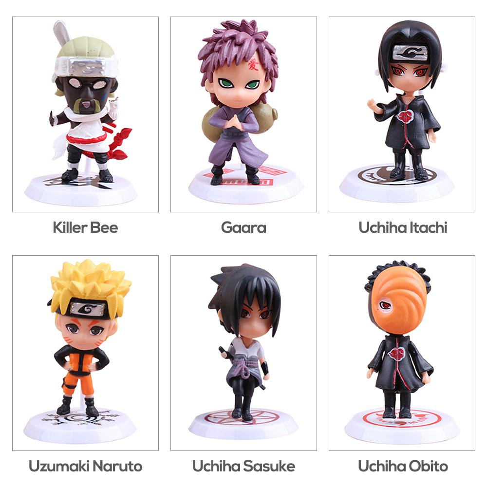 6pcs Naruto Action Figure Dolls UCHIHA MINATO KAKASHI GAARA SAKURA SASUKE