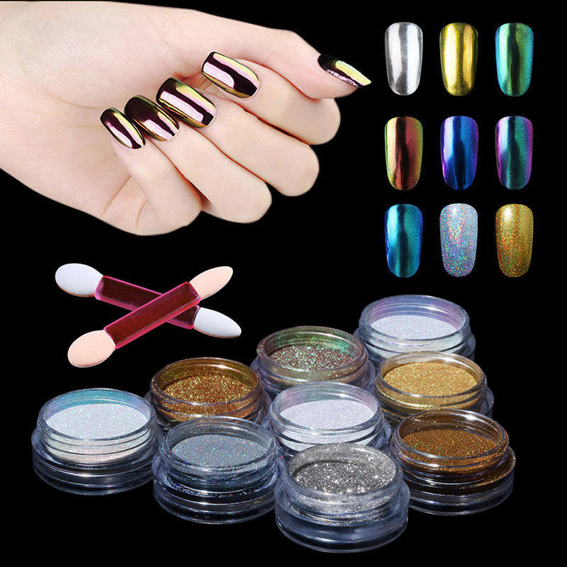 Arte en polvo pigmento uñas brillo polvo cromo cambio Bling uñas ...