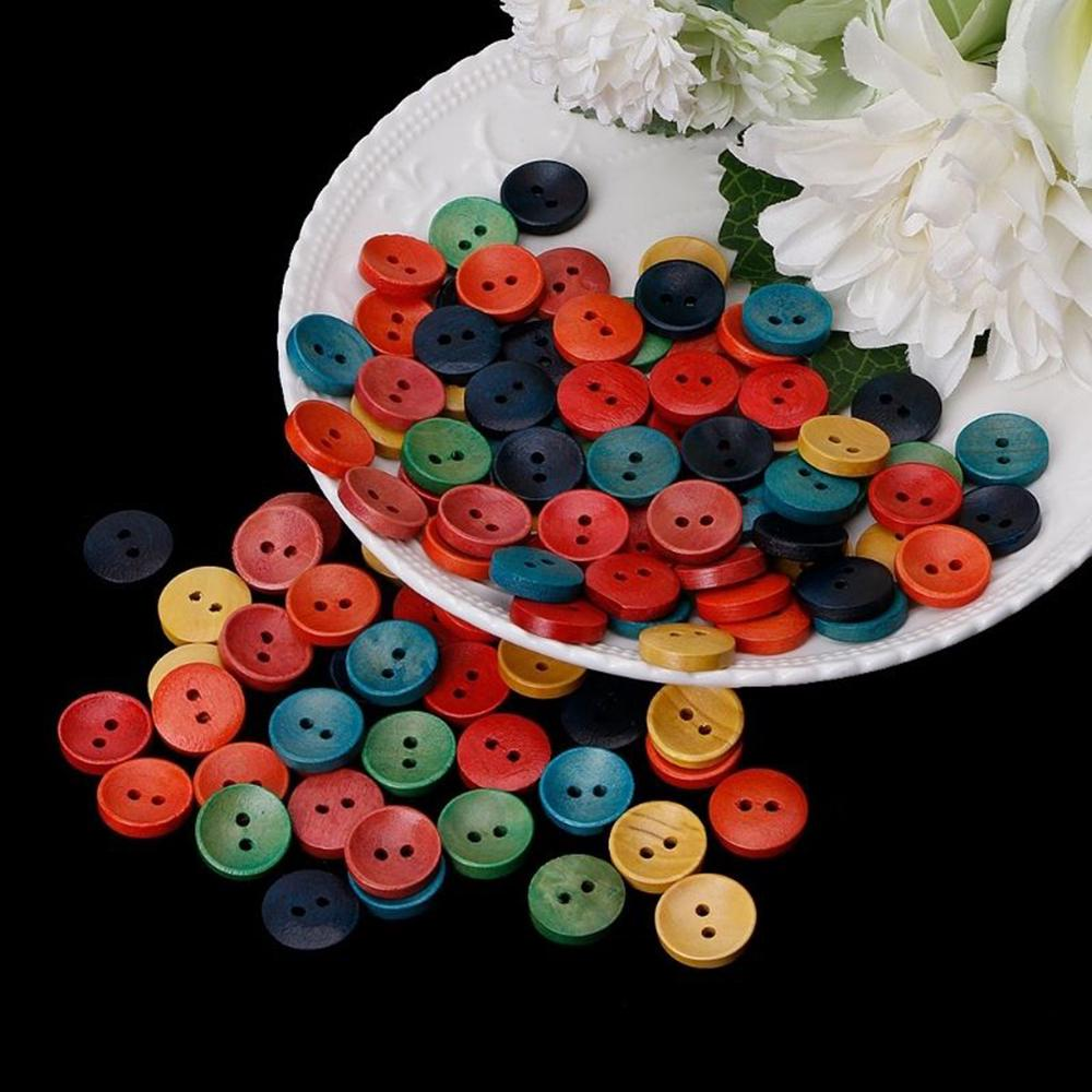 100pcs Mixed Buttons Flower for Clothing Craft Sewing DIY 2 Hole 15mm