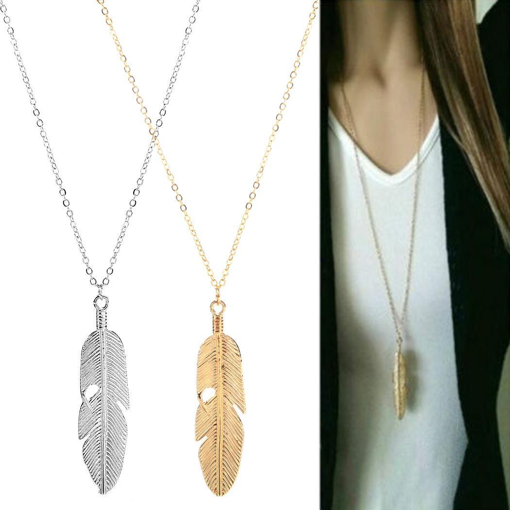 欧美时尚新款饰品厂家直销流行简约树叶羽毛项链锁骨链毛衣链