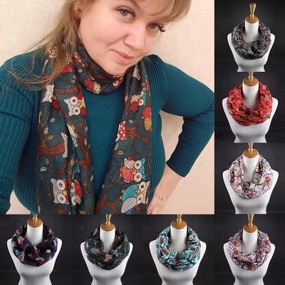 Women Elegant Warm Wrap Shawl Owl Scarf Autumn Winter Scarves Long Scarf Ladies Jewelry Accessories