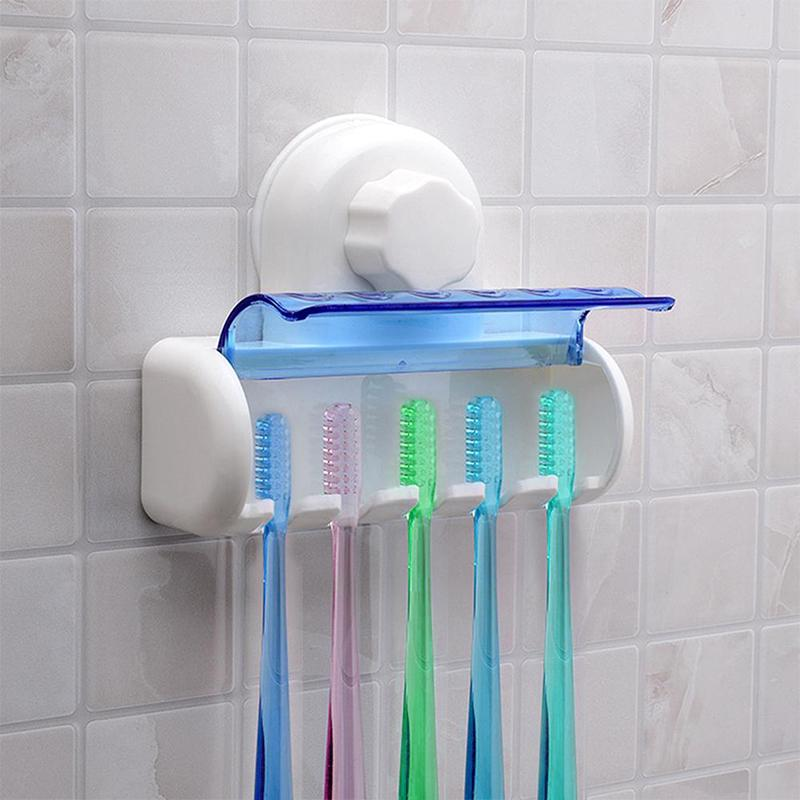 New Home Bathroom Toothbrush Suction Holder Rack Wall Mount Hang Stand