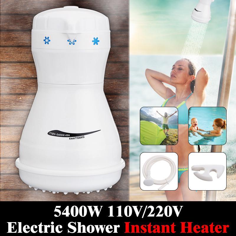 Hose Electric Shower Instant Hot Head Water Heater Boiler Bracket Bath Set
