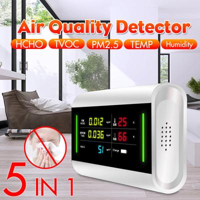 5-in-1 Indoor Pm2.5 Hcho Tvoc Detector Usb Charging 6 Megapixel Led Screen Air Monitor #45 Measurement & Analysis Instruments