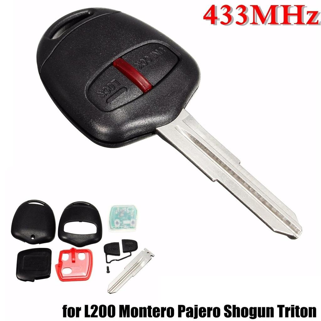 MagiDeal 2 Button Remote Key Fob Replace Shell Case with Blade for Mitsubishi Pajero Alarm Accessories
