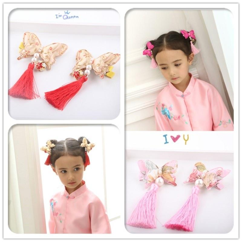 2pc Girls Childs Hair Clip Cotton And Flower Print Cute Boho Metal BB  Hairpin