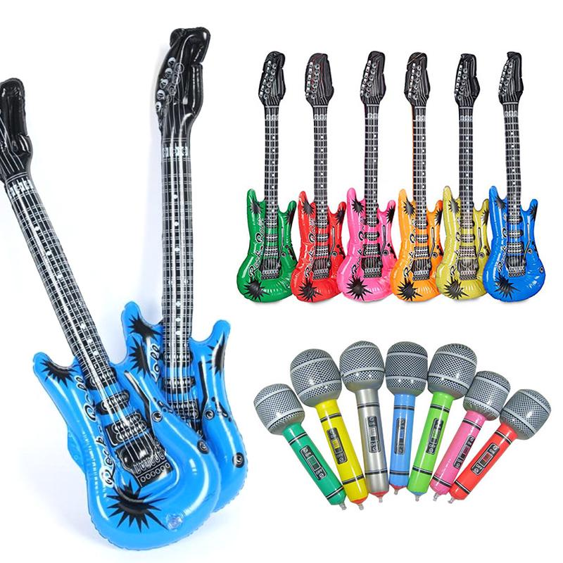 Inflatable Rock Roll Guitar Stage Prop Air Filler Wedding Party Child Funny Toy